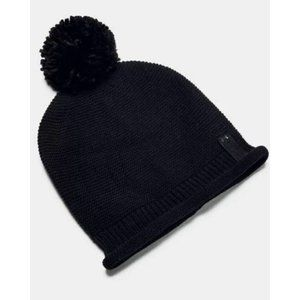 Under Armour Black Coldgear Roll Out Pom Knit Bean